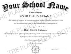 Homeschool High School Diploma by ThePlaidPolkaDots on Etsy Homeschool Diploma, Homeschool High School, High School Diploma, Kid Names, Etsy, First Names, Baby Names