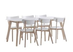 Maalattu valkoinen/Whitewash käsitelty kumipuu 190 × 90 ruokaryhmä + 6 tuolia