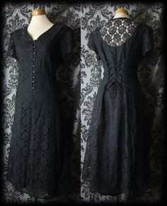 Gothic Long Black Sheer Lace HARLOT Lace Up Corset Dress 8 10 Victorian Vintage
