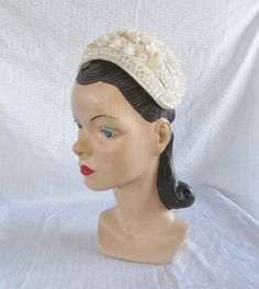 50 s 60 s Vintage White Head Band Hat with by MyVintageHatShop 1ff2fa664e1