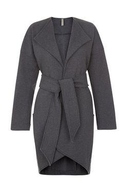 People Tree | Katia Fleece Coat in Dark Grey melange