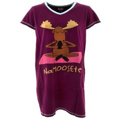 Lazy One Namoosete Nightshirt for Women - If you love moose and yoga, this nightshirt is for you. Namoosete...