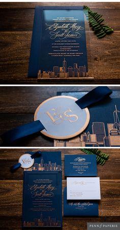 Clear Acrylic Wedding Invitation with New York City Skyline Design by Penn