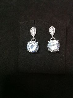 Cubic Zirconia Dangle Earrings With Sterling by SwamiJewelry, $25.00