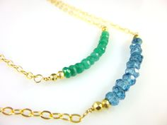 Emerald or London Blue Gemstone Necklace, Chakra Necklace