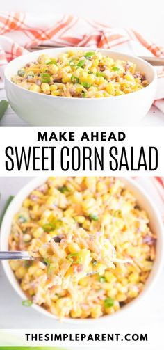 This Sweet Corn Salad recipe is perfect for any gathering! Its the best corn salad recipe because its a simple make ahead corn salad that you can even store in the refrigerator for a few days! Corn bacon and ranch what could be better? Cookout Side Dishes, Cold Side Dishes, Easy Vegetable Side Dishes, Vegetable Sides, Side Dishes Easy, Vegetable Recipes, Best Corn Salad Recipe, Corn Salad Recipes, Corn Salads