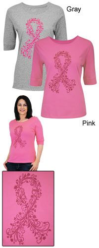 Pink Ribbon Vine 3/4 Sleeve Tee at The Breast Cancer Site