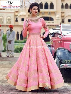 The Stylish And Elegant Crop top lehenga In Pink Colour Looks Stunning And Gorgeous With Trendy And Fashionable Embroidery . The Raw Silk Fabric Party Wear Lehenga Choli Looks Extremely Attractive And. Indian Gowns, Indian Attire, Indian Wear, Indian Outfits, Indian Sarees, Silk Anarkali Suits, Lehenga Gown, Party Wear Lehenga, Raw Silk Lehenga