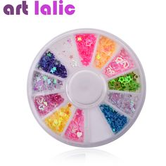 네일 아트 혼합 모양 및 색상 네일 스틱 장식 조각 중공 심장 스타 꽃 휠