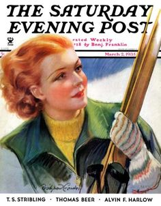 """""""Woman with Snow Skis,"""" by Bradshaw Crandall (March 2, 1935)"""