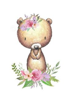 Woodland Nursery Decor Prints Set - Woodland Animal Prints A gorgeous set of 6 prints, of cute baby woodland / forest animals. Including a bear, raccoon, bunny, deer, squirrel, and fox. Enhanced with flowers and leaves. These prints would make lovely wall art in a baby girls