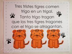 "Hoja de Trabalenguas: ""Tres tristes tigres"" con Ilustración. Más fotografías dando clic a la imagen. Winnie The Pooh, Disney Characters, Fictional Characters, Park, Comics, Short Poems For Kids, Blade, Sad, Winnie The Pooh Ears"