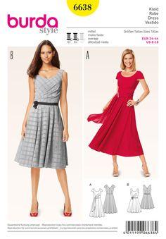 Burda Style Pattern 6638 Misses& Dress Burda Sewing Patterns, Clothing Patterns, Simple Dress Pattern, Bobe, Dress Vestidos, Evening Dresses, Summer Dresses, Dress Making Patterns, Miss Dress