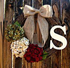 Christmas Hydrangea Wreath - Monogrammed Christmas Wreath - Personalized Christmas Decoration - Personalized Christmas Gift