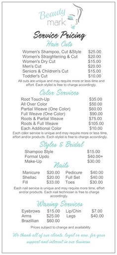Salon Service Menu w/ diff. haircut options