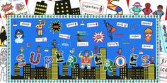 This Ready Made Superheroes Display Pack contains everything you need to recreate this class display. Contains building outlines, super hero figures and much more! Maths Display, Class Displays, School Displays, Classroom Displays, Classroom Ideas, Superhero Writing, Superhero Classroom Theme, Super Hero Activities, Eyfs Activities