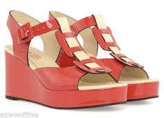 ORLA-KIELY-CLARKS-PATENT-CREAM-AND-RED-WEDGE-MARY-SHOES-UK6
