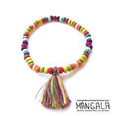 Pulsera Artesanal Hippie Boho Chic Cuentas de madera multicolor