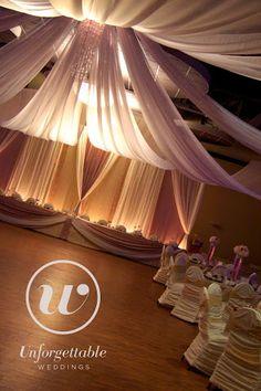 Unforgettable Weddings Sudbury Ontario Wedding Decor, Party Decor, Special Event Decor Ceiling Draping #weddingdecor #wedding #decor #ceiling #draping Ceiling Draping, Wow Factor, Wedding Decorations, Wedding Ideas, Event Decor, Special Events, Photo Galleries, Curtains, Gallery