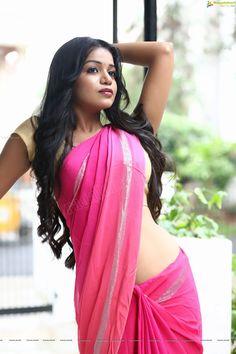 Heroine Bhavya in Pink Saree - Ragalahari Exclusive Photo Shoot (High Definition Stills)