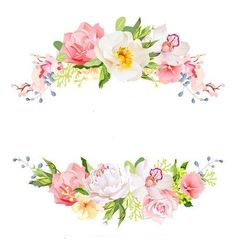 Wreath Watercolor, Watercolor Flowers, Watercolor Art, Flower Circle, Flower Frame, Flower Backgrounds, Wallpaper Backgrounds, Borders And Frames, Floral Border