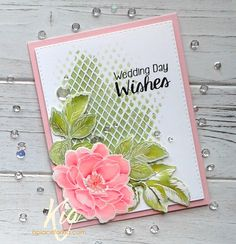 """By Kia. Flower and leaf stamps from Altenew """"Beautiful Day."""" Nuvo Embellishment Mousse through Memory Box """"Textured Diamond"""" stencil. Details on her website. Wedding Day Wishes, Wedding Anniversary Cards, Wedding Cards, Wedding Gifts, Wedding Invitations, Altenew Cards, Copics, Watercolor Cards, Card Tags"""