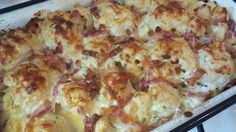 Karfiol sonkás tejfölben sütve, jól variálható káprázatos étel!