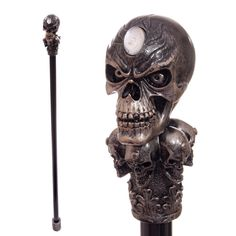 Decorative Walking Stick with Fantasy Bronze Multi Skull Top Looking for something a bit different to give as a gift Then check out our range of Handmade Walking Sticks, Walking Sticks And Canes, Walking Canes, Fancy Dress Goth, Crane, Steampunk Accessoires, Metal Skull, Gothic, Skull Decor