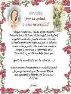 Oración a Ntra Sma Virgen Rosa Mistica por la salud o necesidades