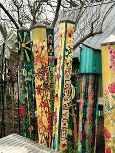 Peace Poles at The Natural Gardener in Austin, TX #TheNaturalGardener #PeacePoles #UniquebyDesignLandscape
