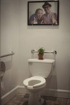 """Hilarious bathroom idea. I might have to break my """"no pictures of people in the bathroom"""" rule for this!"""