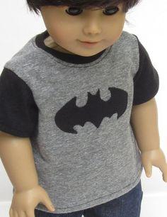 American Girl Boy Doll Clothes Batman Tee Shirt by Minipparel Boy Doll Clothes, Doll Clothes Patterns, Doll Patterns, American Boy Doll, American Doll Clothes, Batman Outfits, Boy Outfits, Ag Dolls, Girl Dolls