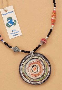 Recycled Paper Bead Necklace. $49.99 #sterling #paper #necklaces @chicoulino http://www.silvermessages.com/sterlingsilverjewelry/product/33469.html