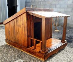 Build a Dog House with One of These 15 Free Plans: Pallet Dog House Plan from DIY Craftsy