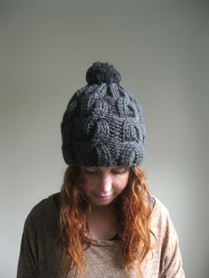 Cabled Gray Knit Pompom Hat  Chunky Gray Knit Hat by hilaryfrazier, $64.00