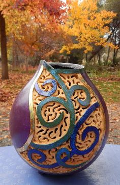 Filigree Carved Gourd with painted blue and by BeautifulGourdArt