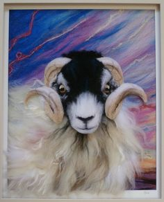 Sheep felt fiber art picture needle by SuesCountryCreations