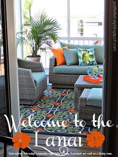 Olla-Podrida: Welcome to the Lanai! Lanai Decorating, Florida Home Decorating, Decorating Ideas, Florida Lanai, Venice Florida, Lanai Room, Lanai Design, Florida Apartments, Outdoor Living Rooms