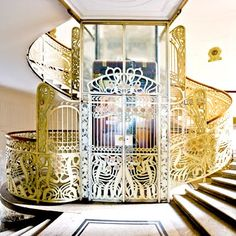Art Nouveau elevator by Victor Horta, Brussels Belgium