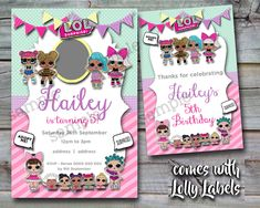 LOL Surprise Birthday Party Pink Green Invitation Invite with personal photo **FREE Lolly bag labels by Invitingbyrenee on Etsy https://www.etsy.com/au/listing/575638313/lol-surprise-birthday-party-pink-green