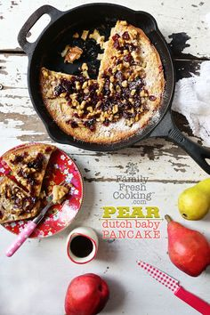 Gluten-Free Pear Dutch Baby Pancake. #food #gluten_free #pancakes #autumn