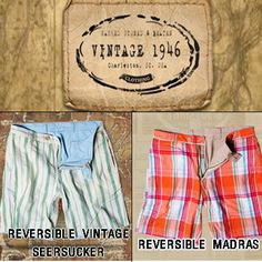 Reversible Shorts in vintage style.