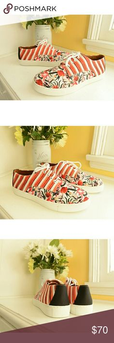 Modernist-Art, Floral & Striped Neoprene Sneakers Another beautiful infusion of art by Los Angeles-based designer Rozae Nichols, of Clover Canyon, founded in 2011. Size 8, a rare find, as these are no longer in production (from the 2015 collection). Brand new, in box. Size 8. Enjoy! Shoes Sneakers