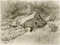 Snow-Covered Cottages with Figures  #Vincent van Gogh #Drawing, Pencil #Saint-Rémy: March - April, 1890