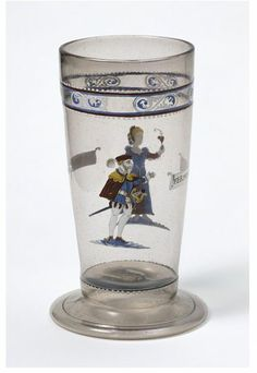 Mid 16th century (made); Beaker; France (made); Unknown (production); Enamelled and gilt, diamond point engraved glass; Museum number:C.260-1936