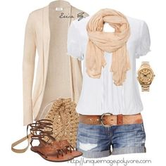 Apricot outfit. Cardigan, shorts, shirt, sandals, bag, watch, scarf, belt <3 <3