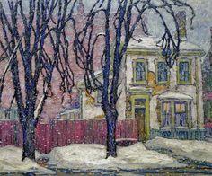 "Group of Seven painter - Lawren Harris, ""Snowfall. Tom Thomson, Emily Carr, Group Of Seven Artists, Group Of Seven Paintings, Canadian Painters, Canadian Artists, Winter Painting, Winter Art, Landscape Paintings"
