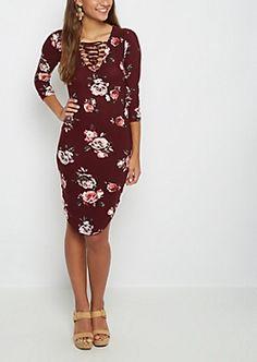 Burgundy Rose Lattice Yoke Midi Dress