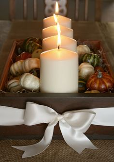 Fall Drawer Centerpiece-minus the white bow