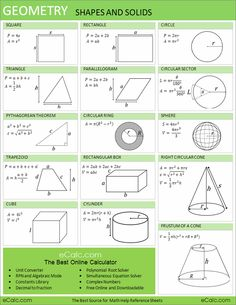 Quick references to algebra, geometry, calculus and trigonometry Geometry Formulas, Math Formulas, Math College, Math Sheets, Maths Solutions, Math Help, Homeschool Math, Homeschooling, Math Class
